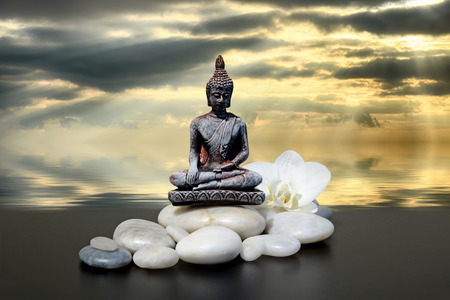 Zen or Feng-Shui background-Buddha,zen stone,white orchid flowers and dark sky and clouds reflected in water