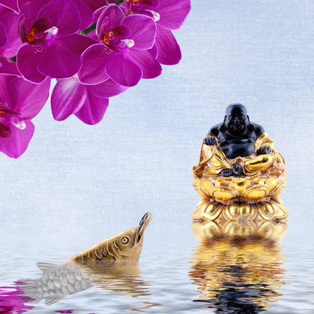 arowana: Laughing Buddha,orchid flowers,arowana with coin reflected in the water.Symbol of wealth and great fortune in Feng-Shui