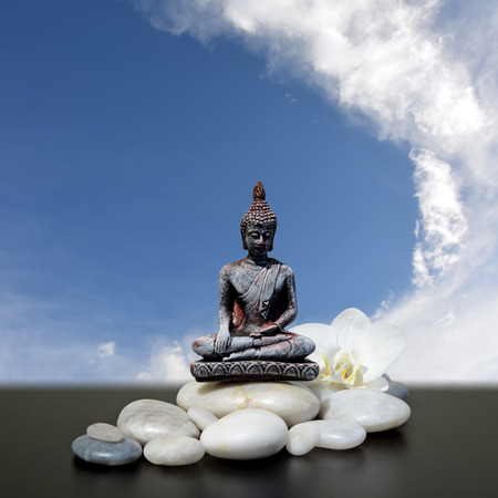 blue orchid: Buddha,zen stone,white orchid flowers and sky background Stock Photo