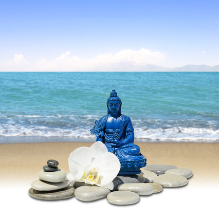 Feng-Shui background-Blue Medicine Buddha Bhaisajyaguru,zen stone,white orchid flowers, sea and sky