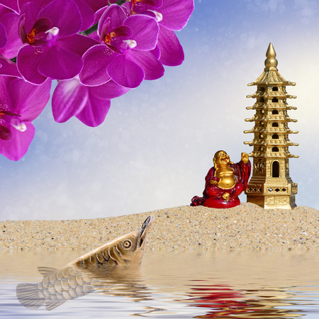 asian arowana: Laughing Buddha,orchid flowers,arowana with coin reflected in the water.Symbol of wealth and great fortune in Feng-Shui