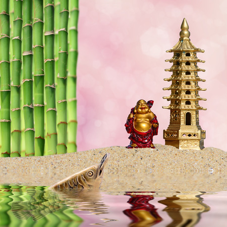 Laughing Buddha, bamboo, arowana with coin reflected in the water.Symbol of wealth and great fortune in Feng-Shui