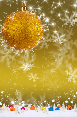 Gold Christmas background with snowflakes, small wooden houses, Christmas trees and snow