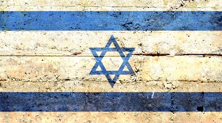 israeli: Israeli flag concrete texture Stock Photo
