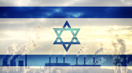 israeli: Israeli flag against industrial landscape Stock Photo