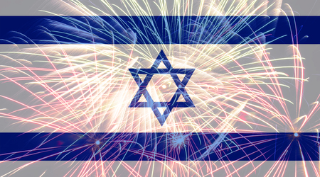 Israel flag against fireworks