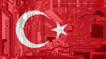 Turkey flag on the circuit board as technology background