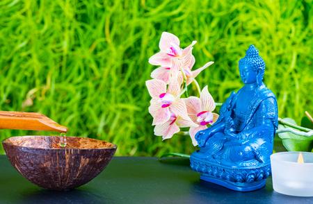 Zen garden background with Medicine Buddha, orchid flower and zen stones