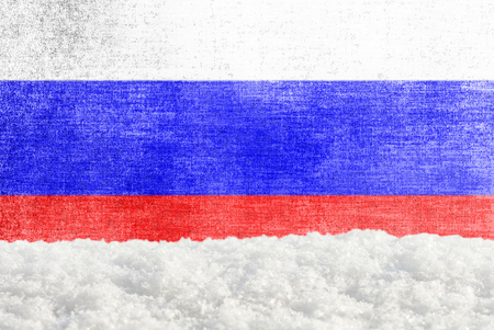 Winter grunge background with snowdrift and Russian flag in the backdrop