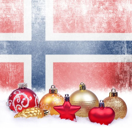 Christmas grunge background with festive decorations-balls, star, heart, fir cone and Norwegian flag