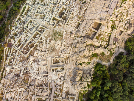 Ancient Thracian city of Perperikon in the Eastern Rhodopes, Bulgaria. Aerial drone view