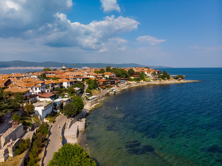 Aerial drone view of Nessebar, ancient city on the Black Sea coast of Bulgaria