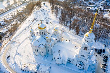 Assumption church in Vladimir town, Russia. Aerial drone view