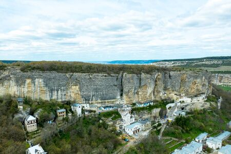Bakhchisaray Cave Monastery, also known as Assumption Monastery of the Caves, Crimea. Aerial drone view Zdjęcie Seryjne