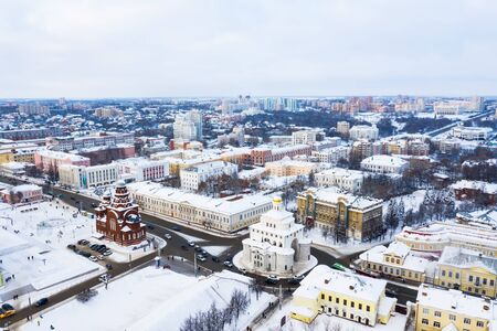 Gold ring of Russia. Aerial view of downtown Vladimir with the Golden Gate and Holy Trinity Church