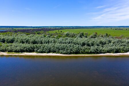 Forest and beach by the river. Aerial drone view