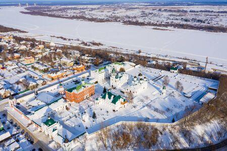 Winter aerial drone view of Murom Spaso-Preobrazhensky monastery, Russia Vladimir region