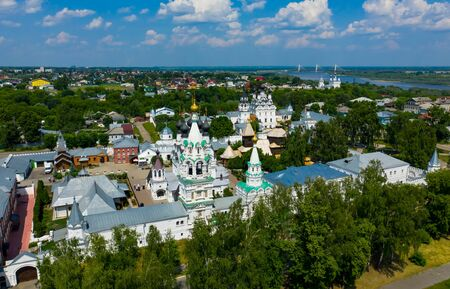Holy Trinity Monastery in Murom, Russia. Winter aerial drone shot
