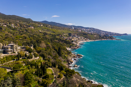 Panoramic aerial view of the Vorontsov Palace or the Alupka Palace on the Black Sea, Yalta, Crimea