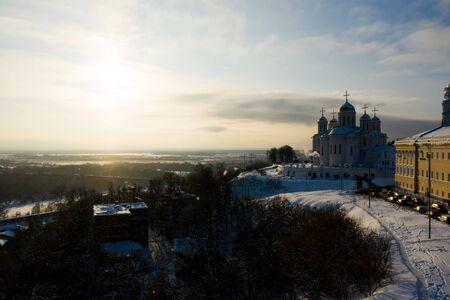 Assumption church in Vladimir town at sunset, Russia. Aerial drone view Standard-Bild - 128843351