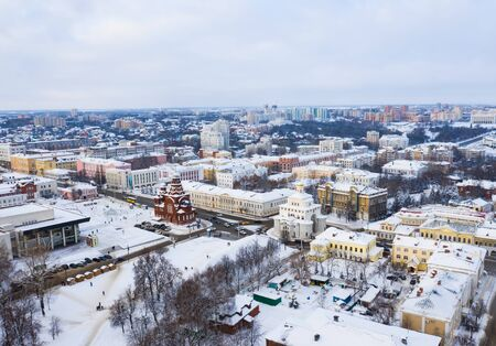 Gold ring of Russia. Aerial view of downtown Vladimir with the Golden Gate and Holy Trinity Church 免版税图像