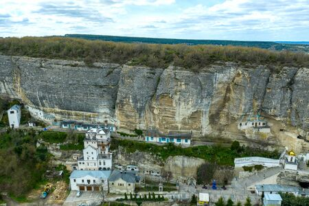 Bakhchisaray Cave Monastery, also known as Assumption Monastery of the Caves, Crimea. Aerial drone shot Standard-Bild - 128818694
