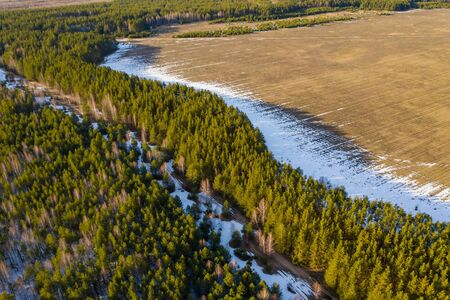 A strip of white snow between a spring forest and an agricultural field. Aerial drone view Standard-Bild - 128818695