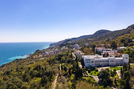 Aerial drone shot of Livadia Palace with a beautiful landscaped garden in Crimea Standard-Bild - 133062693