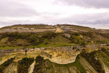 Cave city Bakla, near the city of Bakhchisaray, Crimea. Aerial drone view Standard-Bild - 133062977