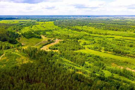 Big river and flood meadows. Aerial drone view Standard-Bild - 131955602