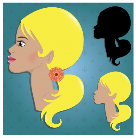 black wigs: Fashion hair woman glamour make up Illustration