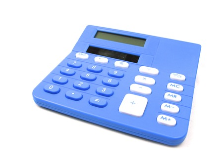 totals: Blue basic calculator on a white background