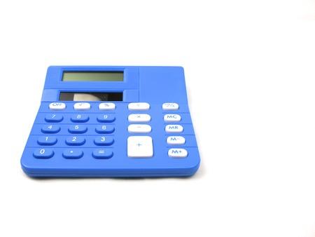 Blue basic calculator on a white background