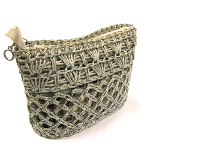weaved: Silver weaved coin purse isolated on white Stock Photo