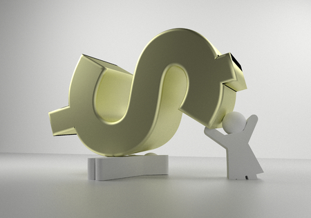 squashed: 3d rendering of a couple being squashed by money