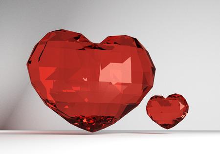corazon cristal: Procesamiento 3D de dos corazones de cristal Foto de archivo