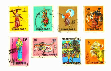 20 years old: Ethnic Arts, old postage more than 20 years old of Singapore Stock Photo