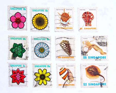 20 years old: Fauna -Flora, old postage more than 20 years old of Singapore Stock Photo