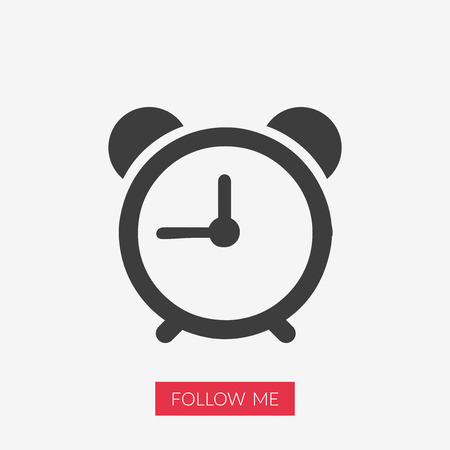 Alarm clock icon illustration with Follow Me text in pink rectangle shape.