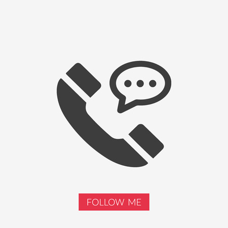Phone vector icon illustration with Follow Me text in pink rectangle shape.