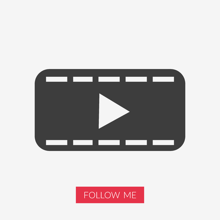 Movie icon, play symbol illustration with Follow Me text in pink rectangle shape.