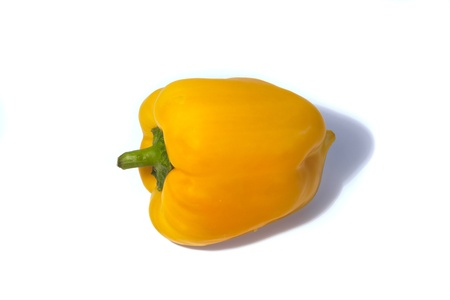 Yellow sweet peppers on a white background Stock Photo