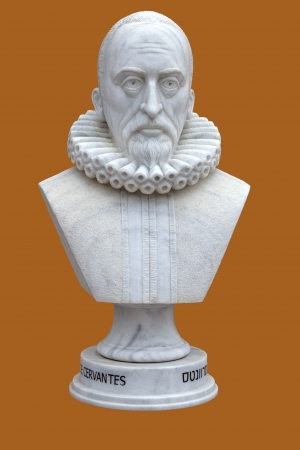 Cervantes. The Bust of white marble. Editorial