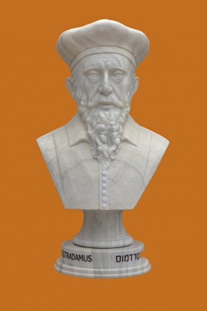 astrologer: Nostradamus. The Bust of white marble.