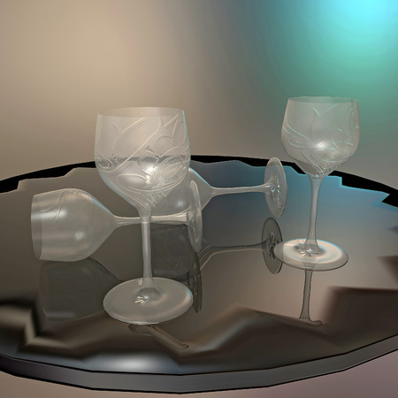 Crystal glasses on a round table photo
