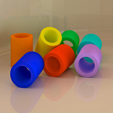 Abstract 3D colorful geometric shapes. Tube figures. photo