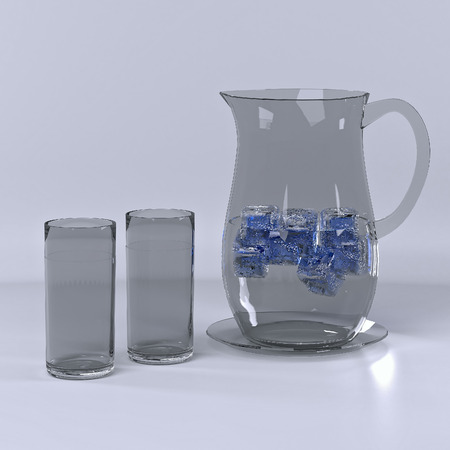 Pitcher with water and ice and the two glasses. Stock Photo