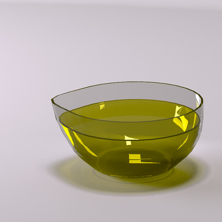 Glass Cup with fresh olive oil. Stock Photo