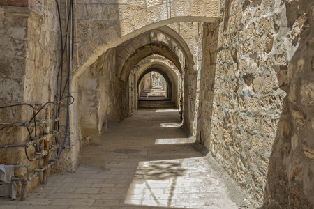 jewish home: Walk through the ancient streets of Jerusalem. Stock Photo