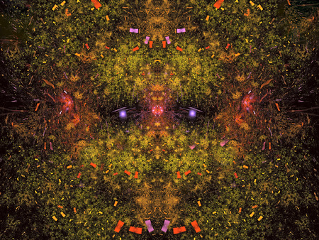 UFO. Abstract Magic energy multicolored fractal. 3D rendering.
